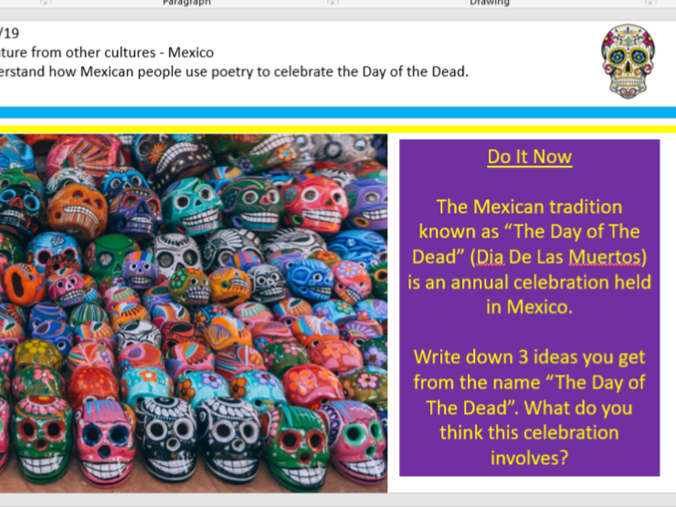 Day Of The Dead - Other cultures/ Halloween Lesson