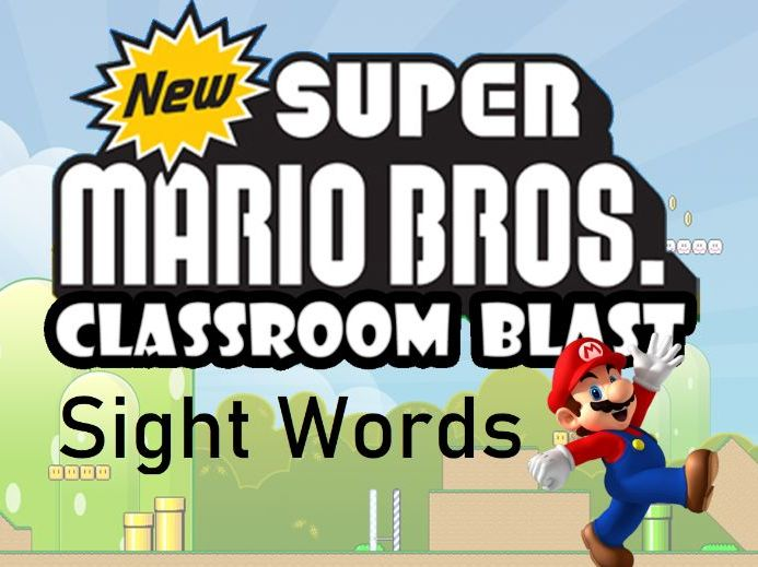 Sight Words Mario Game - 20 High Frequency Words - K-1 - Picture Prompt