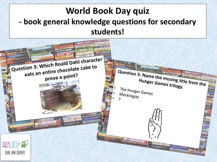 World Book Day quiz - book general knowledge questions for secondary students!