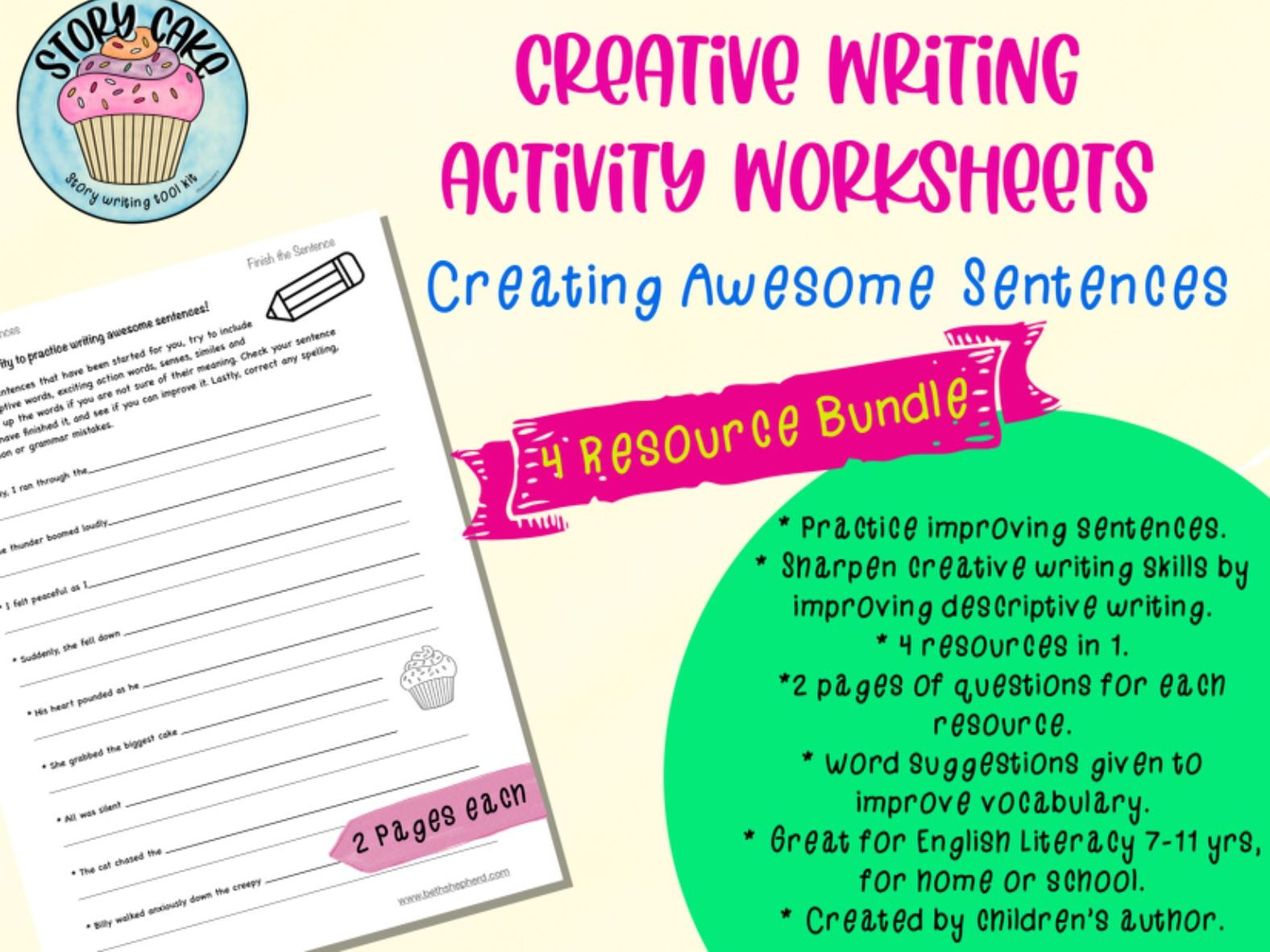 Create Awesome Sentences - 4 in 1 resource bundle - Creative writing, descriptive sentences, improve writing, sentence building, expand vocabulary, develop writing skills.
