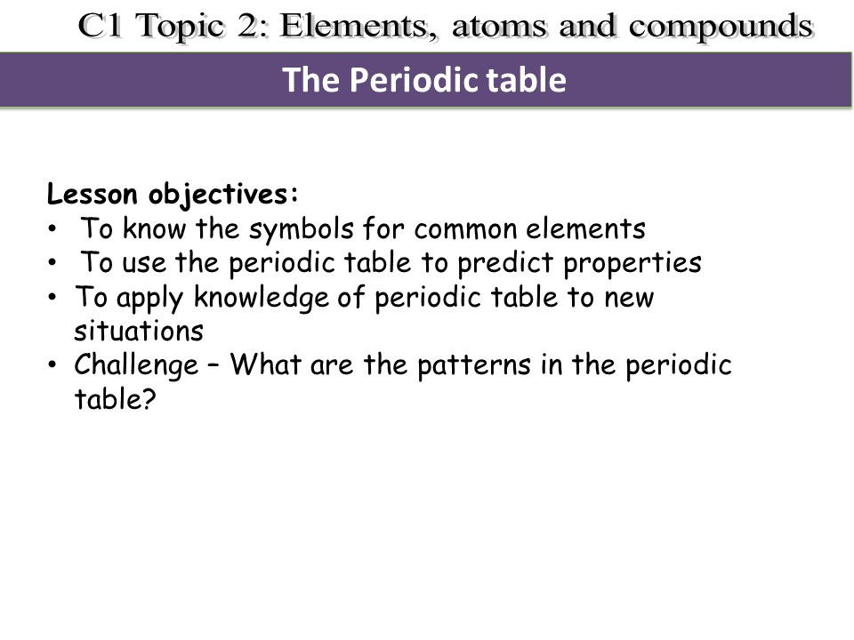 Activate 1 KS3 Chemistry Chapter 1 Periodic table
