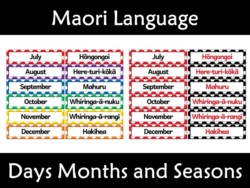 Maori Language Labels Days Months and Numbers New Zealand Te Reo