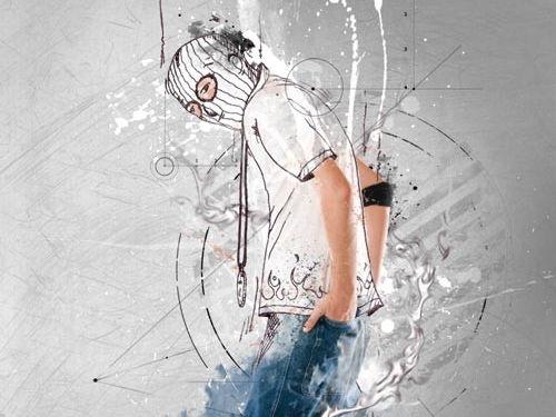 Photoshop Photography tutorial half sketch half photo editing