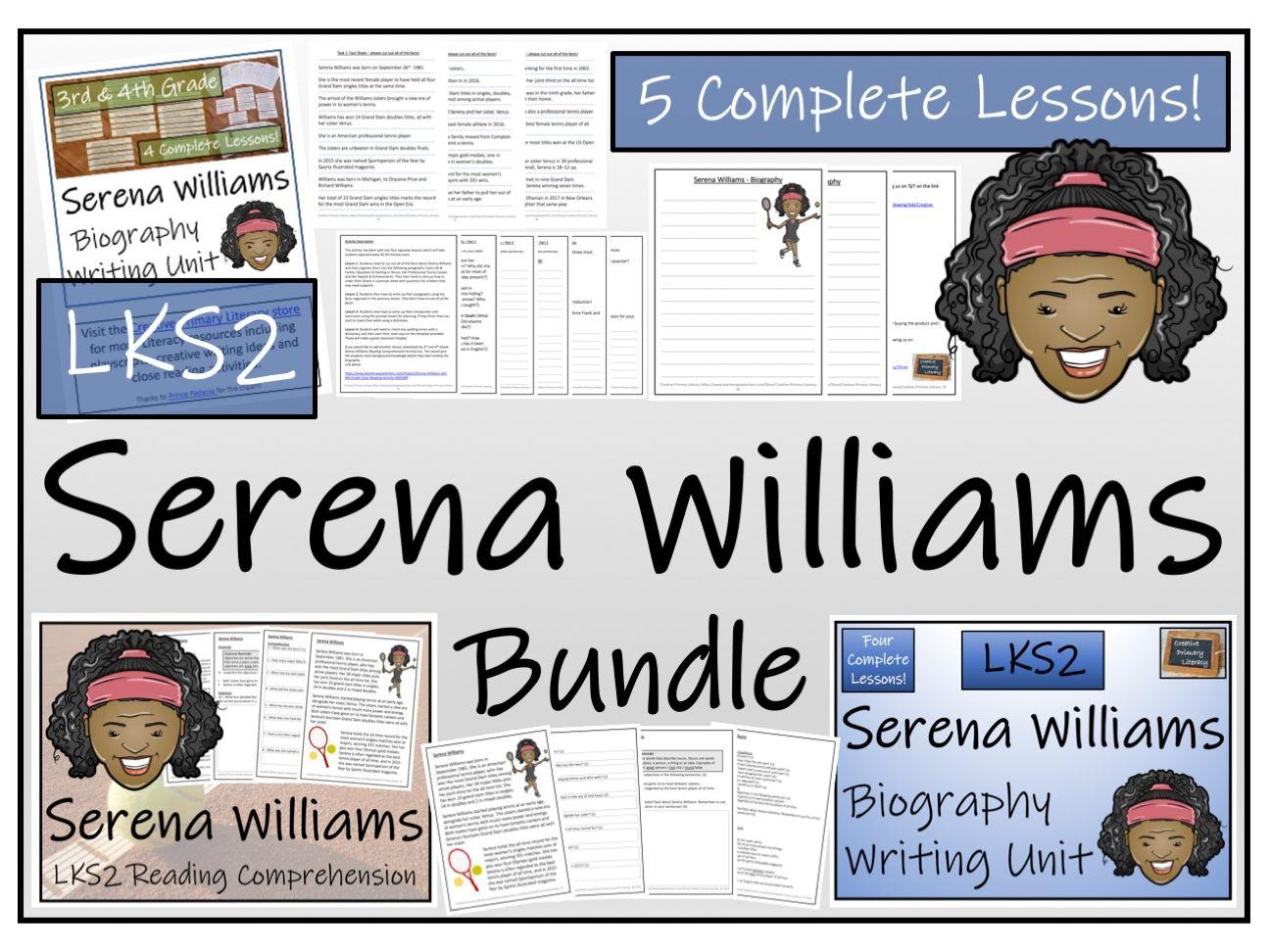 LKS2 Literacy - Serena Williams Reading Comprehension & Biography Bundle