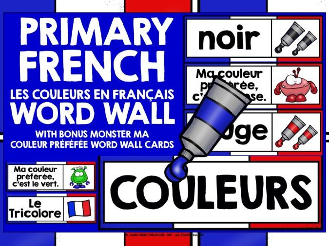 PRIMARY FRENCH COLOURS WORD WALL