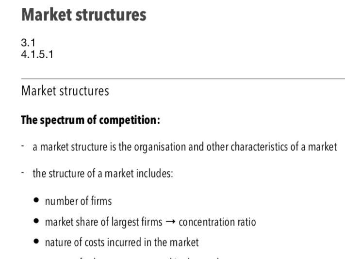 Market Structures - A Level Economics