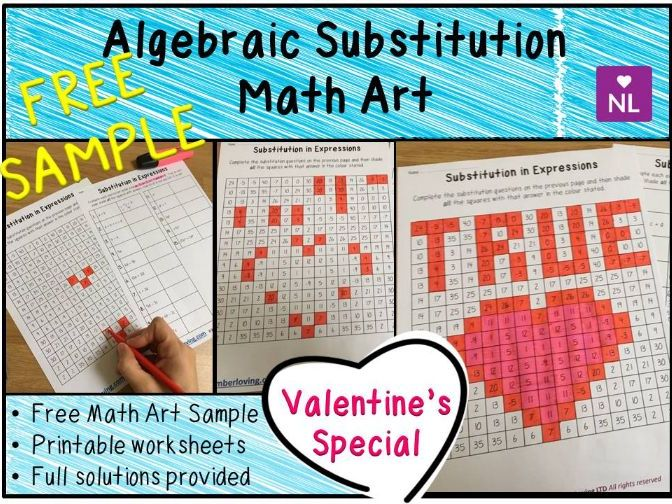 Algebraic Substitution Math Art Worksheets