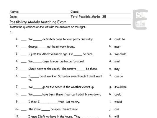 Possibility Modals Matching Exam