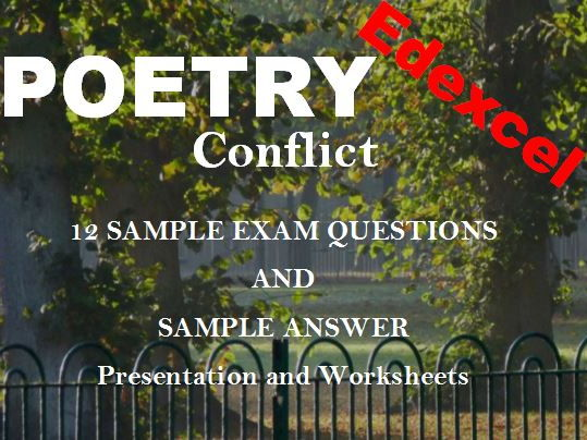 Edexcel Conflict Poetry Sample Exam Questions AND Sample Answer Presentation and Worksheets