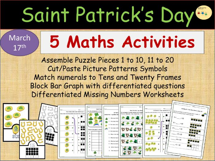 St Patrick's Day Maths Block Graph, Picture Patterns, Puzzles Numbers 1-20, Match Up Worksheets