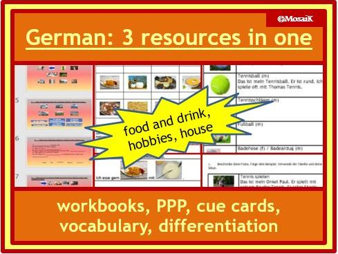 German: 3 for less than 2 ! my house, food and drink, hobbies;