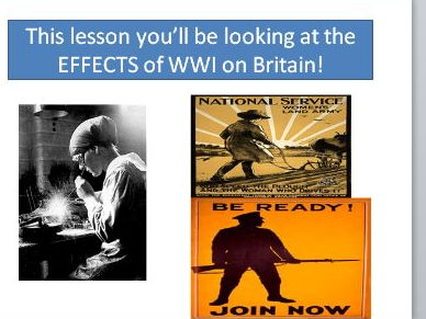 World War One - Group work lesson on the homefront
