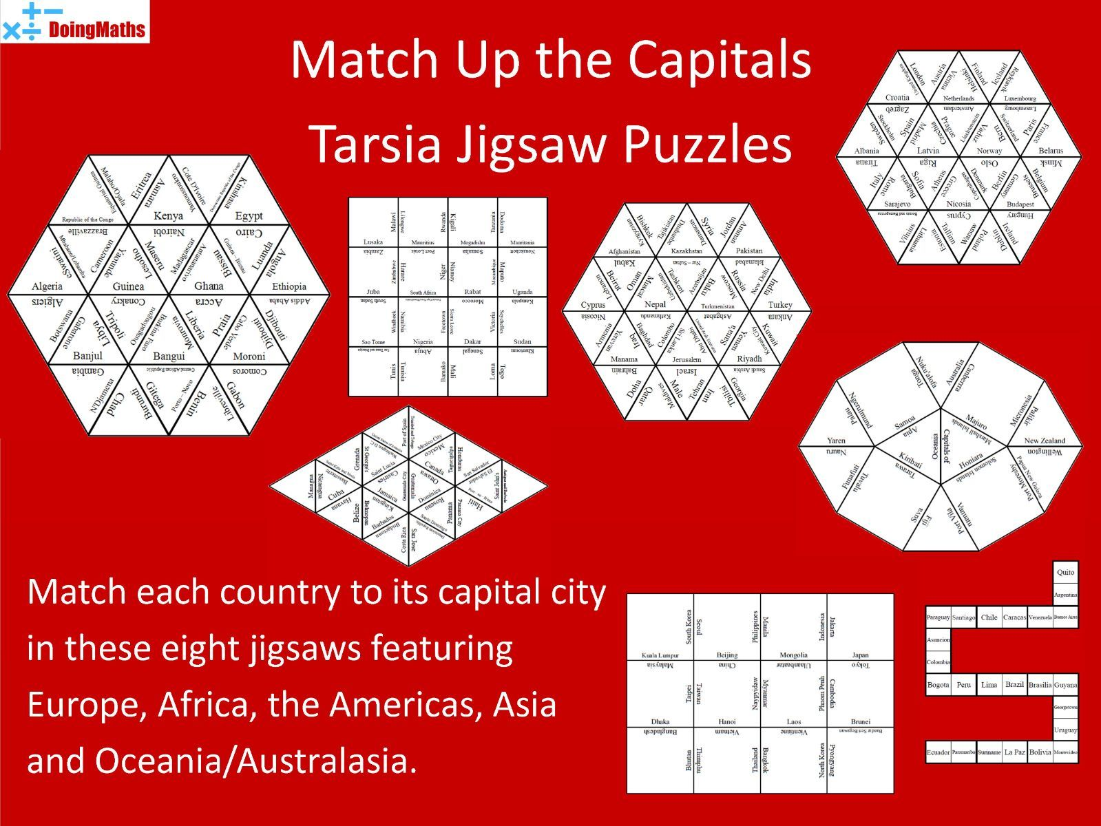 Capital Cities of the World Match-Up Jigsaw Puzzles