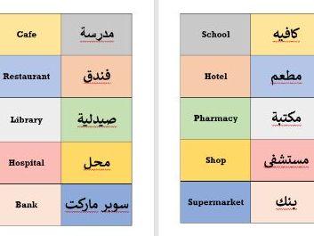 Town Locations ESOL English Arabic Flashcards
