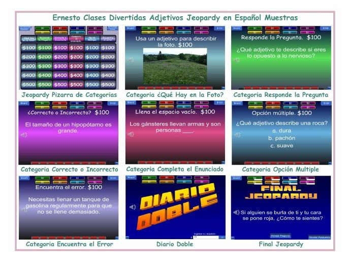 Adjectives Spanish Jeopardy Game