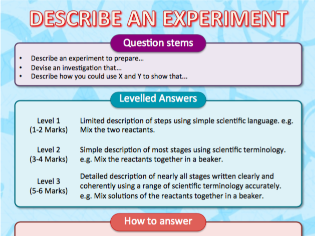 Guide to answering GCSE Science 6 Mark Exam Questions - Describe an experiment...