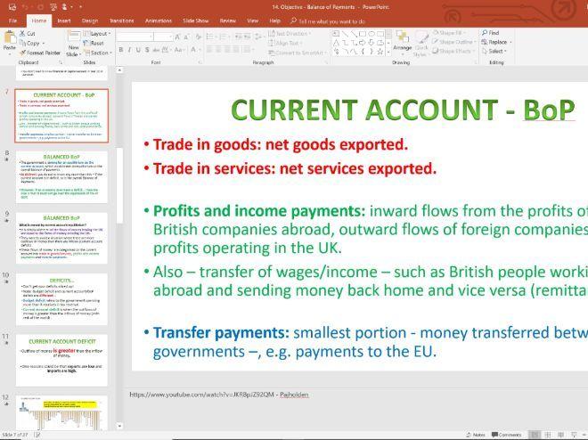 14. Balance of Payments (Slides, Activities and Notes) - Edexcel A-Level Economics - Theme 2