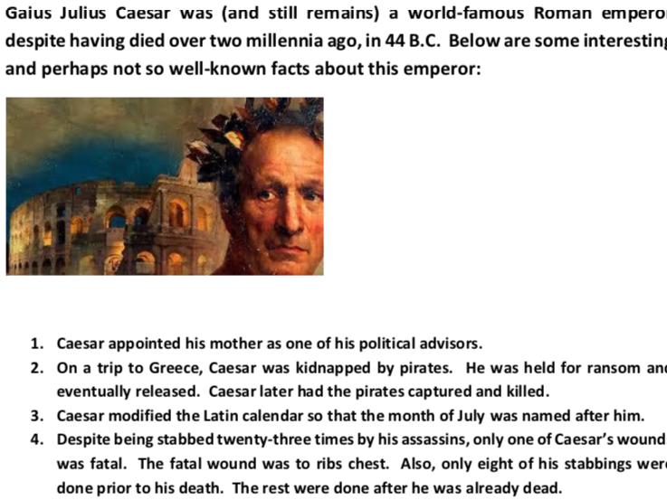 Interesting Facts About Julius Caesar (Worksheet)
