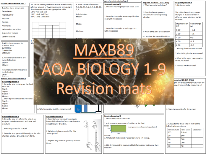 GCSE 9-1 Revision Biology AQA Required Practical Activities Revision Mats