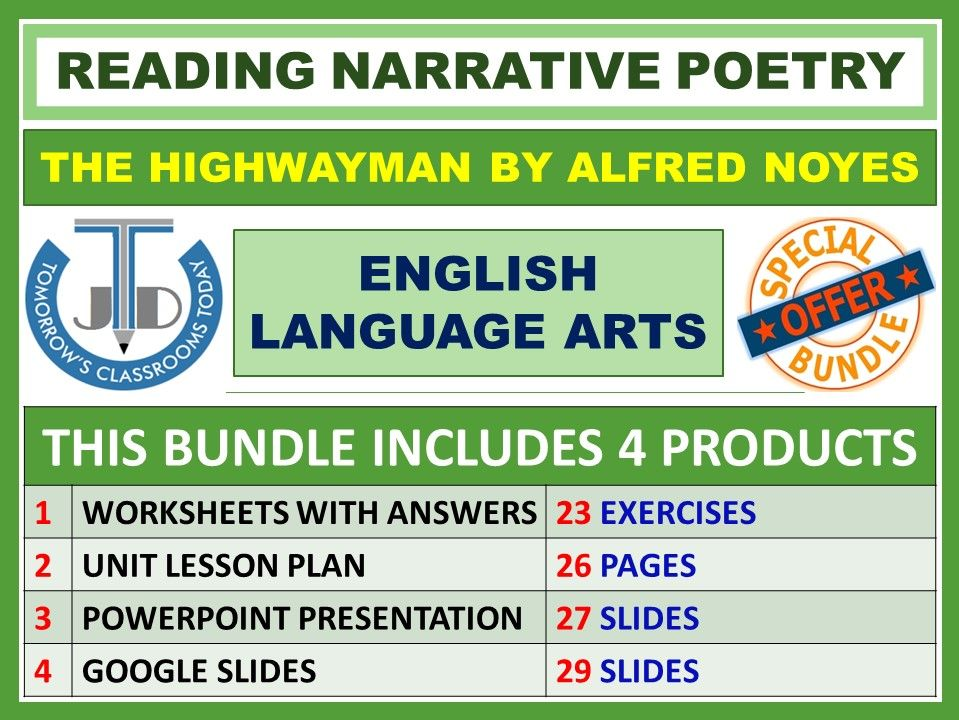 READING POETRY - THE HIGHWAYMAN: CLASSROOM RESOURCES - BUNDLE