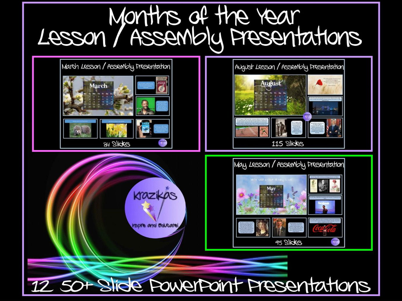 Months of the Year Lesson / Assemblies Bundle - Twelve 50+ Slide Lesson / Assembly PowerPoint Presentations