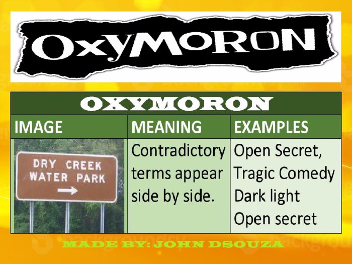 Oxymoron Lesson Plan Chart Lists Worksheets By John421969