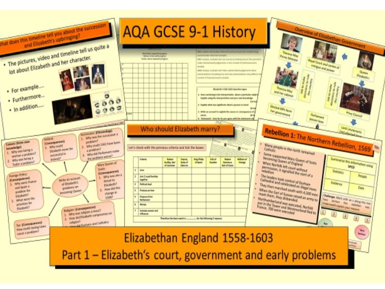AQA GCSE History 9-1 Elizabethan England 1568-1603: Part 1 Elizabeth's court, government and early problems