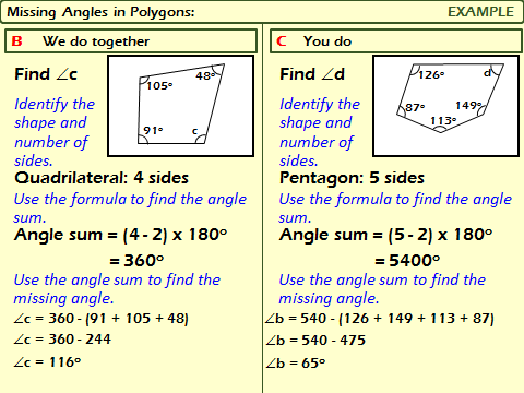 Polygons: Interior Angles in Polygons
