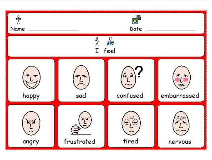 I feel . . . Emotions Support Grid - Behaviour - SEN - SEBD - PDA - ASD