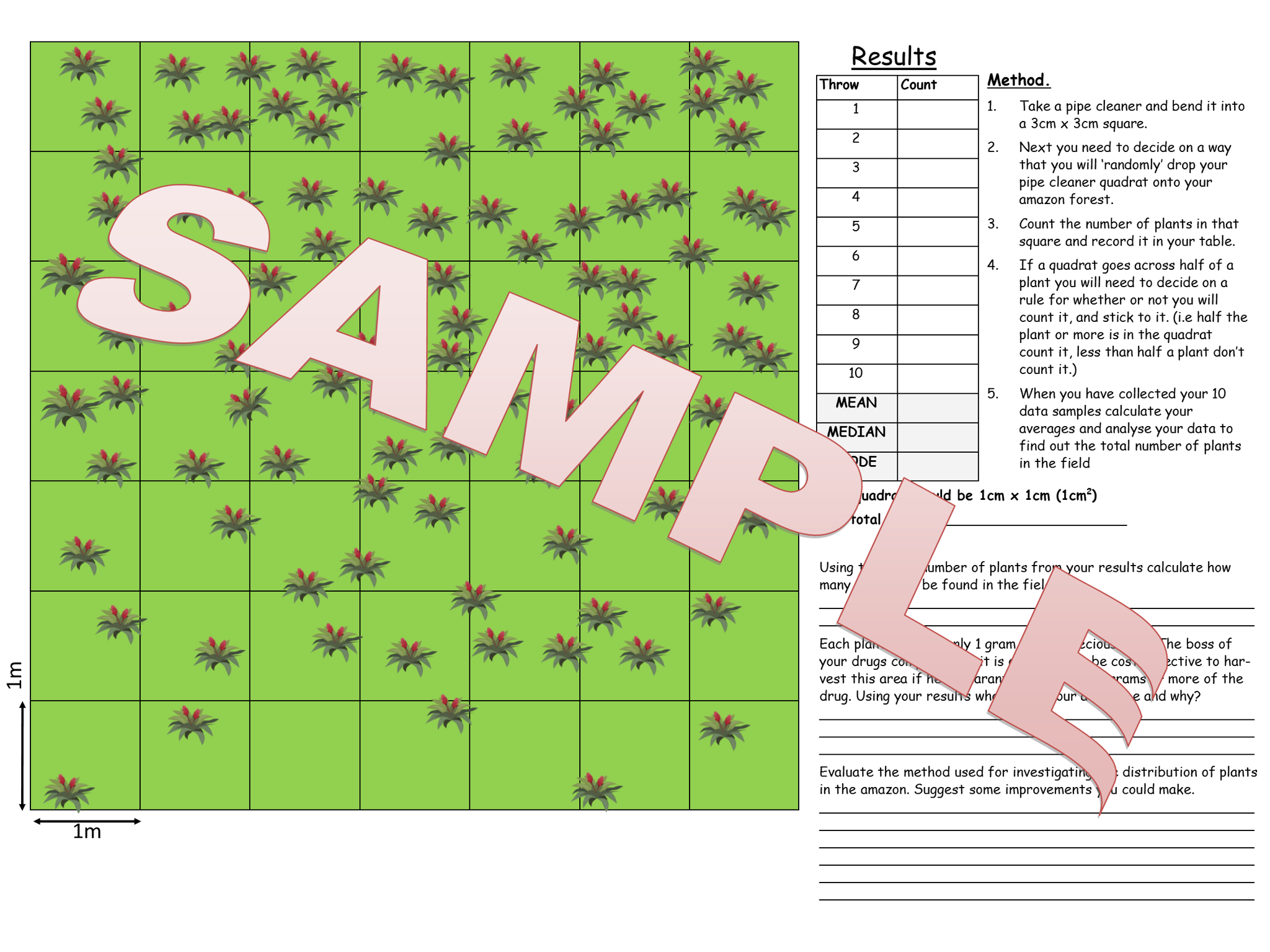 AQA 9-1 Sampling Quadrats required practical