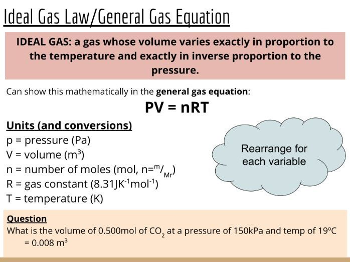 Physical Chemistry #12: The Gaseous State, Ideal Gas Law and General Gas Equation (Slides & Tasks)