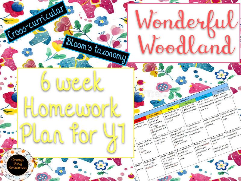 6 week Wonderful Woodland Homework Grid for Y1