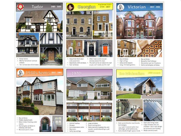 Houses - 16 architectural periods, Tudor, Victorian, Art Deco etc