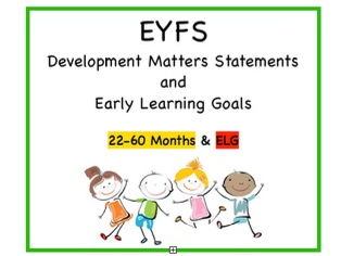 EYFS Cards, All Areas | 22- 60 Months Statements + ELGs