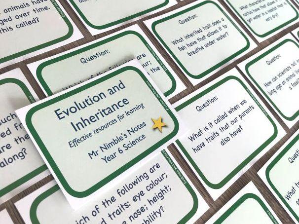 Year 6 Quiz Cards - Evolution and Inheritance