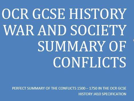 OCR GCSE HISTORY WAR AND BRITISH SOCIETY 1500 - 1750 SUMMARY