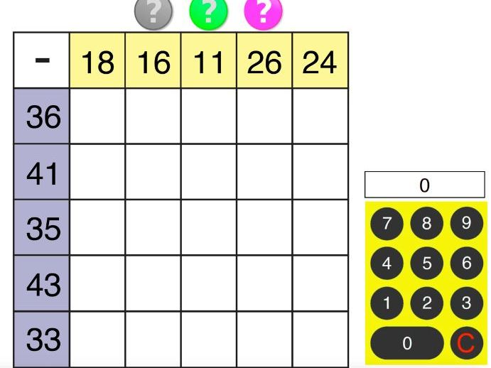 Subtraction Square. Interactive PDF