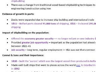 Industrialisation in Ulster, 1825-55 Revision Notes