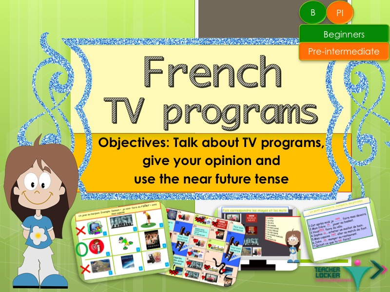 French TV programs and near future tense full (no prep)