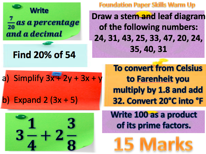 Edexcel 9-1 Mock 1 - Foundation Starters