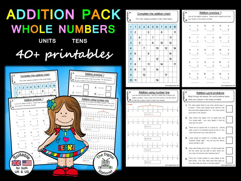 Addition Pack Whole Numbers (Units & Tens) (suitable UK/US) - 40+ printables