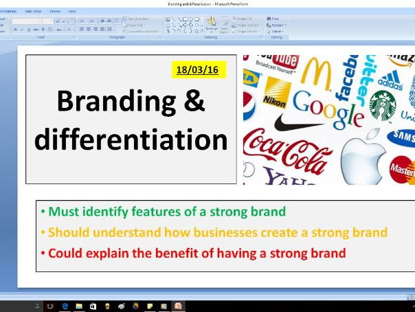 Branding and Differentiation lesson - GCSE Business