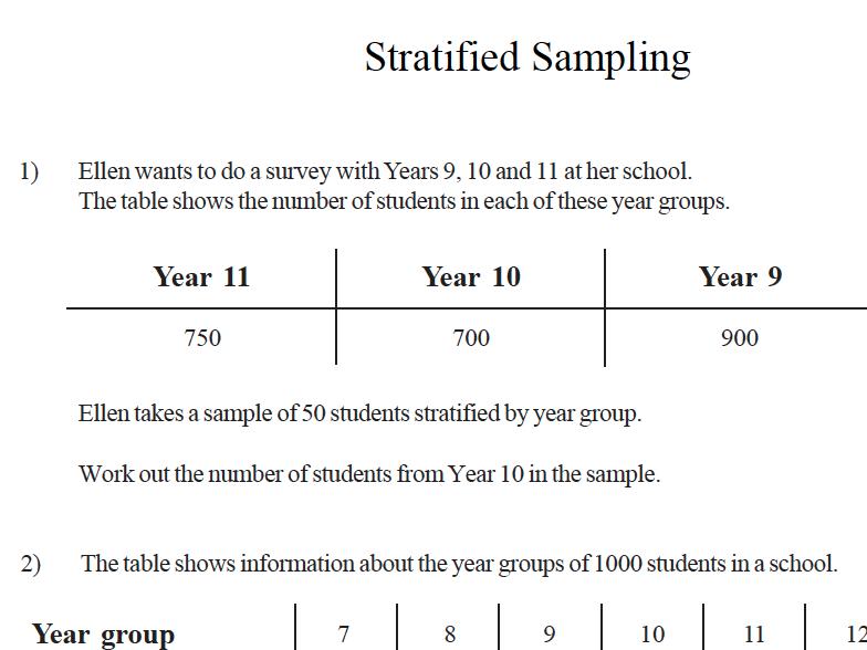 GCSE Maths Revision Stratified Sampling