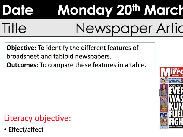 Features of newspapers KS3 Y9