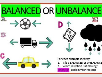 KS3 Science Forces, Balanced, Unbalanced and Resultant Forces (PHYSICS)