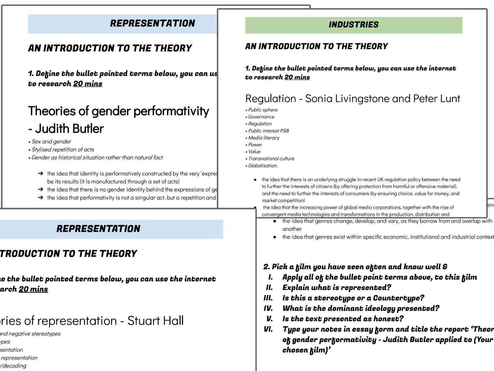 WJEC Media A Level Representation & Industry worksheets Hall, Butler, Curran & Livingstone