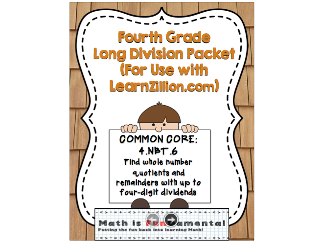 Fourth Grade Long Division Packet (For Use with LearnZillion.com)