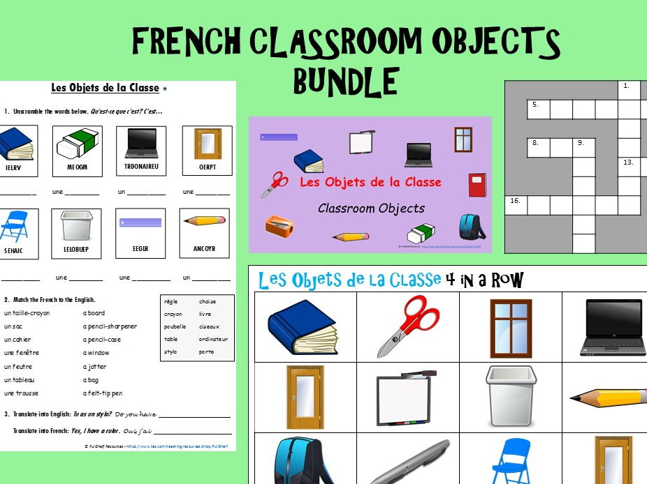 French Classroom Objects BUNDLE (Les Objets de la Classe)