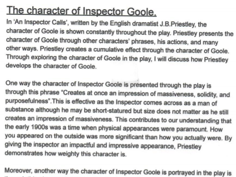 GCSE 'AN INSPECTOR CALLS'  (ALL) CHARACTERS MODEL ANSWERS