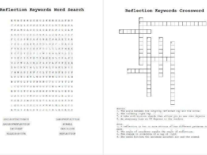 Reflection Word Search and Crossword Keywords